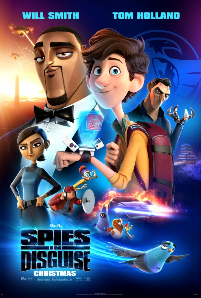 Will Smith and Tom Holland lend their voices to the new animated spy comedy, Spies in Disguise.
