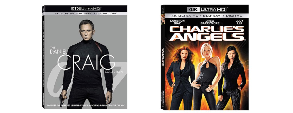 Look for the complete Daniel Craig James Bond movies alongside the first Charlie's Angels movie on Blu-ray and 4K Ultra HD this week.