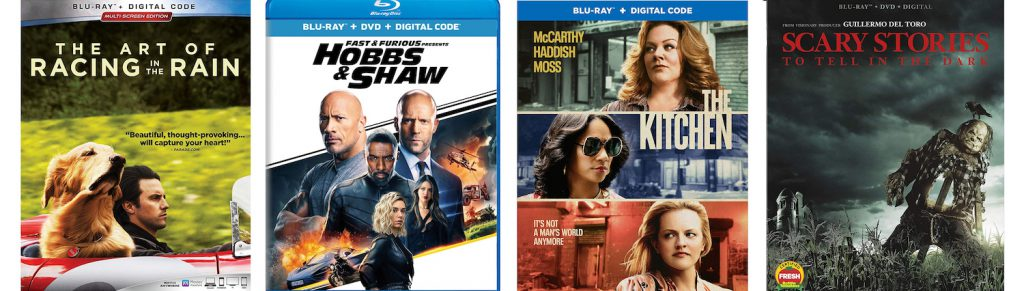 Hobbs and Shaw, The Kitchen, Scary Stories to Tell in the Dark and The Art of Racing in the Rain are coming to Blu-ray, DVd and 4K ultra HD this week.