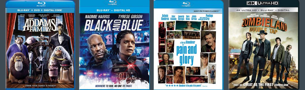 New releases for the week of January 20, 2020 include Black and Blue, The Addams Family, Pain and Glory and Zombieland: Double Tap.