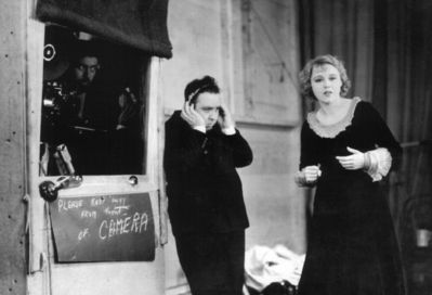 Hitchcock directing Blackmail, the first British film to feature sound