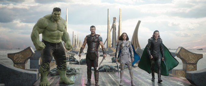Hulk, Thor, Valkyrie and Loki in Thor Ragnarok