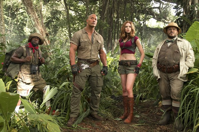 Kevin Hart, Dwayne Johnson, Karen Gillen and Jack Black in Jumanji: Welcome to the Jungle