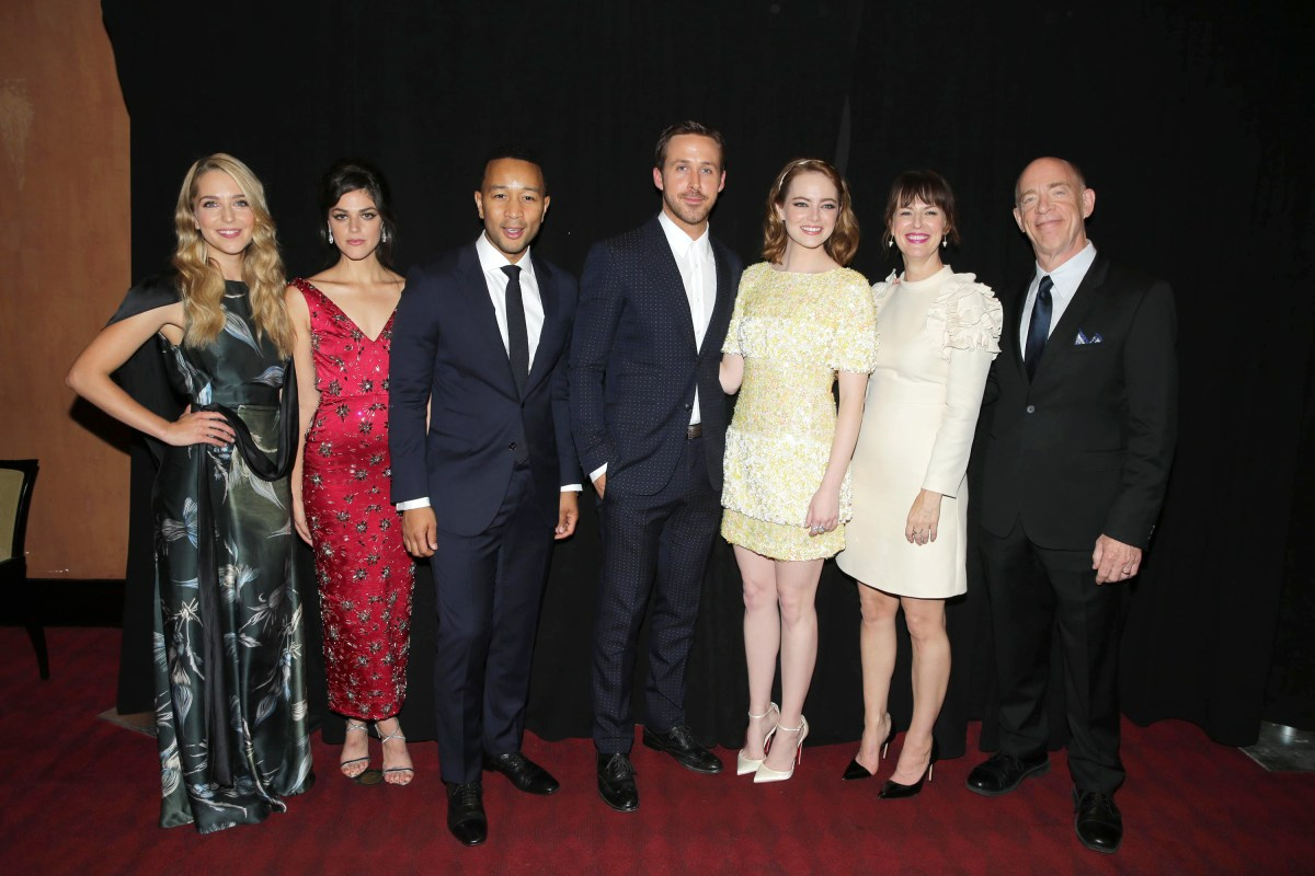 """Jessica Rothe, Callie Hernandez, John Legend, Ryan Gosling, Emma Stone, Rosemarie DeWitt and J.K. Simmons seen at Summit Entertainment's """"La La Land"""" premiere at the 2016 Toronto International Film Festival on Monday, Sept. 12, 2016, in Toronto. (Photo by Eric Charbonneau/Invision for LionsgateAP Images)"""