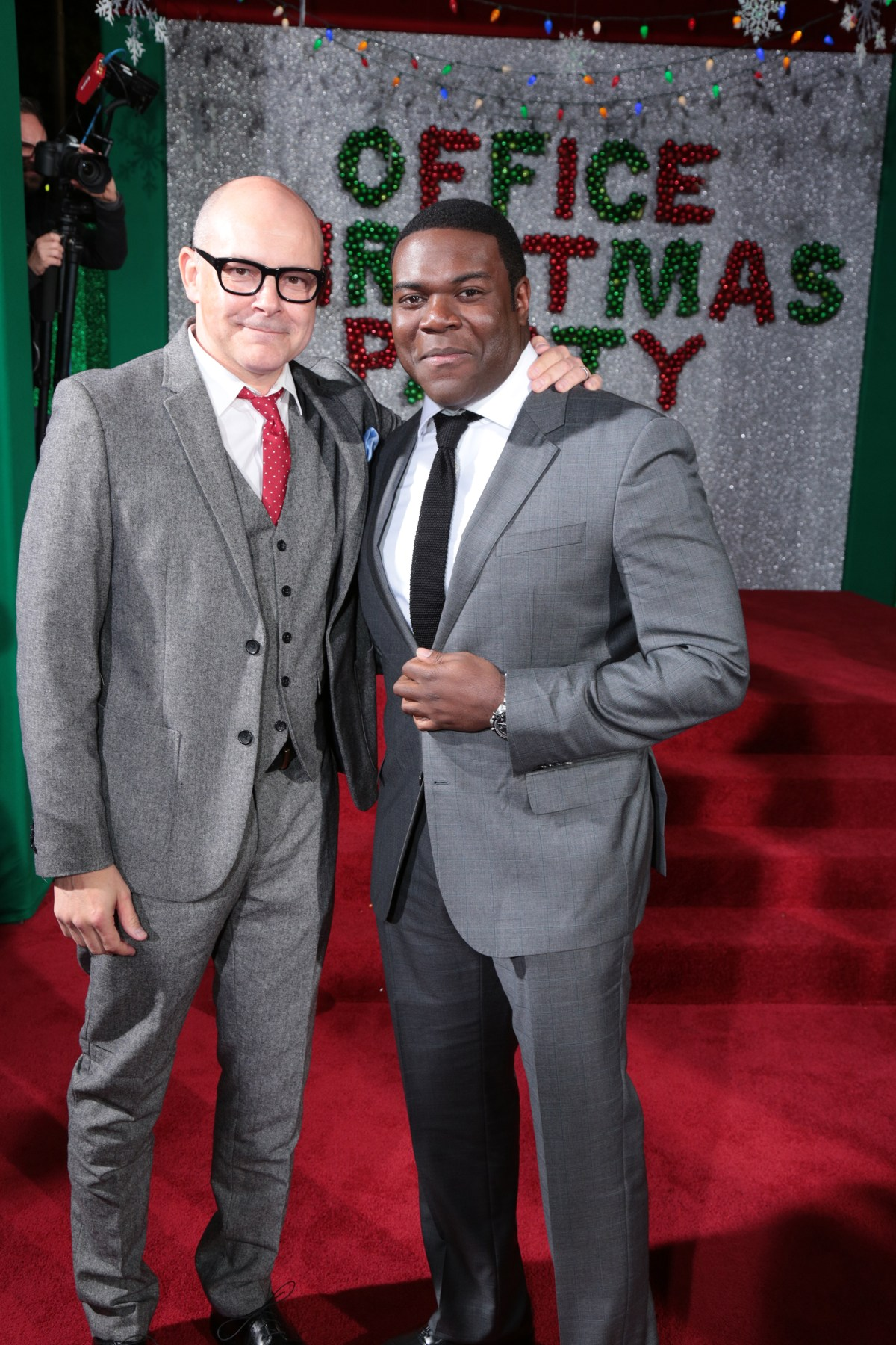 "Rob Corddry and Sam Richardson pose as Paramount Pictures presents the Los Angeles premiere of ""Office Christmas Party"" at the Regency Village Theater in Los Angeles, CA on Wednesday, December 7, 2016  (Photo: Alex J. Berliner / ABImages)"
