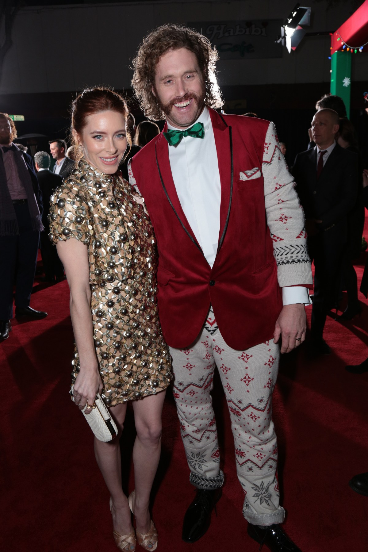 """Kate Miller and T.J. Miller pose as Paramount Pictures presents the Los Angeles premiere of """"Office Christmas Party"""" at the Regency Village Theater in Los Angeles, CA on Wednesday, December 7, 2016  (Photo: Alex J. Berliner / ABImages)"""