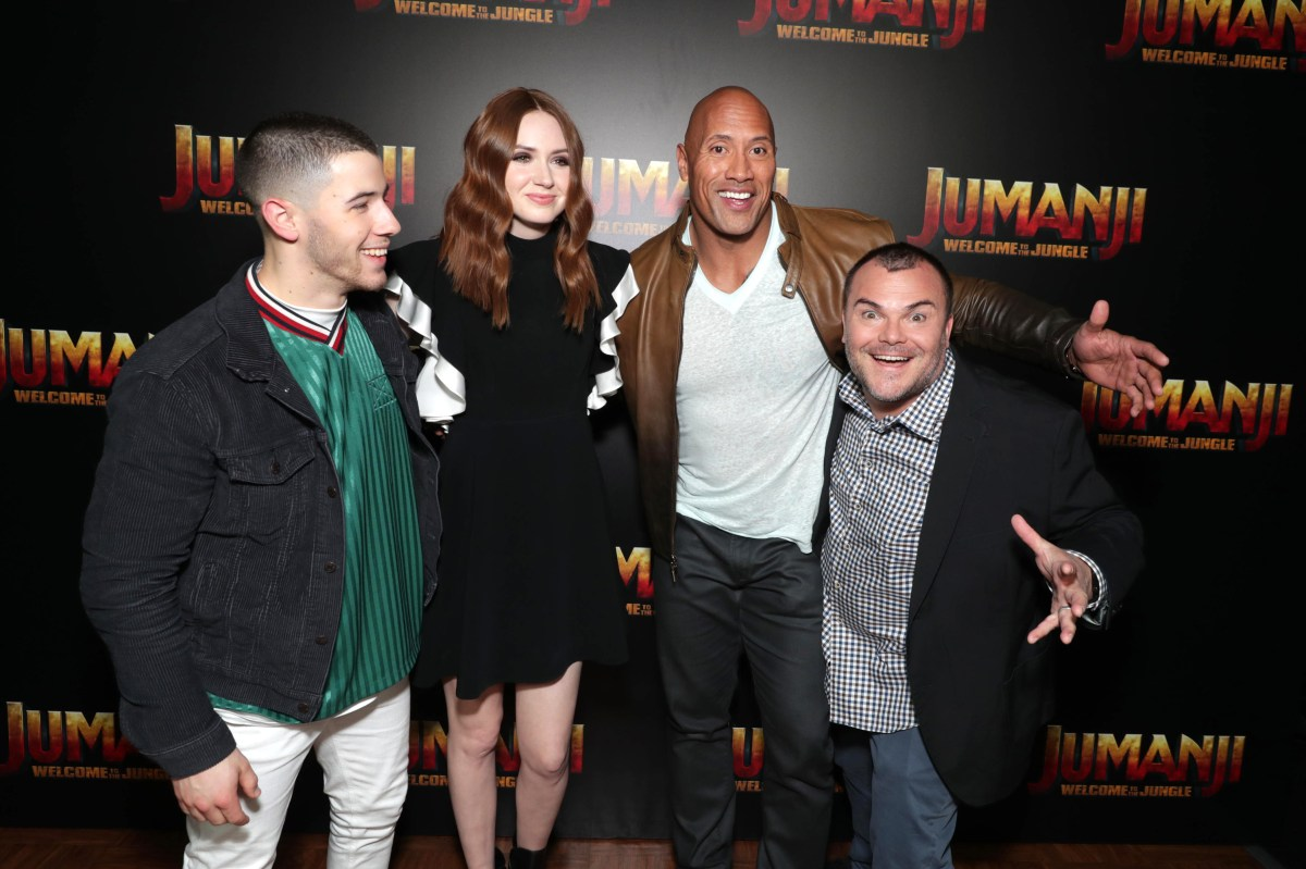 Nick Jonas, Karen Gillan, Dwayne Johnson and Jack Black seen at Columbia Pictures 'Jumanji: Welcome to the Jungle' photo call at 2017 CinemaCon on Monday, March 27, 2017, in Las Vegas.