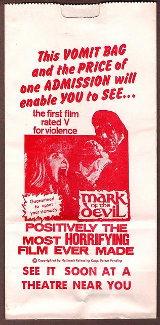 mark of the devil vomit bag