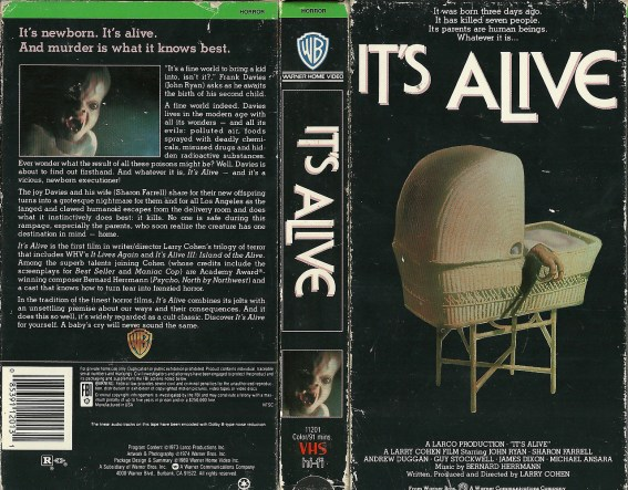 it's alive 1974 larry cohen warner VHS sleeve