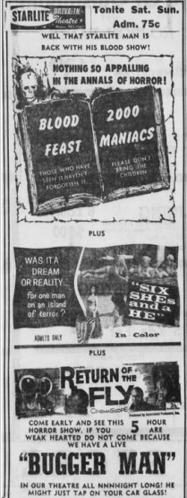 blood-feast-2000-maniacs-return-of-the-fly-starlite-drive-in-kannapolis-north-carolina-10-21-1966