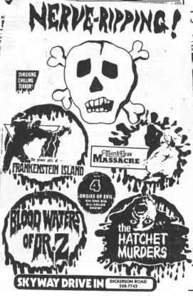 frankenstein island mardi gras massacre blood waters of dr z the hatchet murders drive-in ad