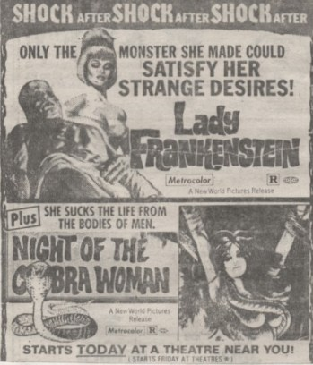 lady frankenstein-night of the cobra woman ad mat-1