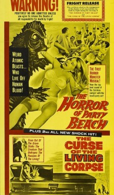 horror of party beach + curse of the living corpse del tenney poster