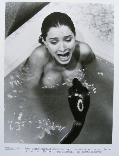 the outing Babs (Damon Merrill) meets a snake in the bath