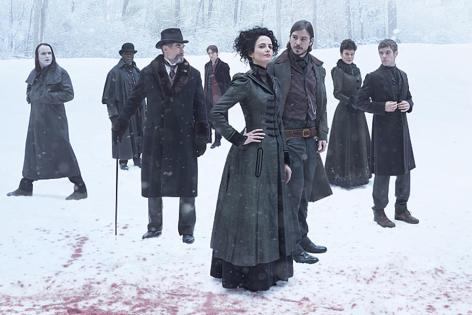 Rory Kinnear as the creature, Danny Sapani as Sembeme, Timothy Dalton as Sir Malcolm, Reeve Carney as Dorian Gray, Eva Green as Vanessa Ives, Josh Hartnett as Ethan Chandler, Helen McCrory as Evelyn Poole and Harry Treadaway as Doctor Victor Frankenstein in Penny Dreadful (Season 2) - Photo: Jim Fiscus/SHOWTIME - Photo ID: PennyDreadful_blood-snow-pr-v10
