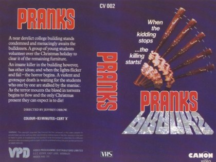 pranks aka dorm that dripped blood british vhs front & back2