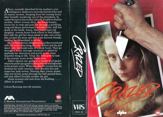 crazed alpha video british VHS sleeve