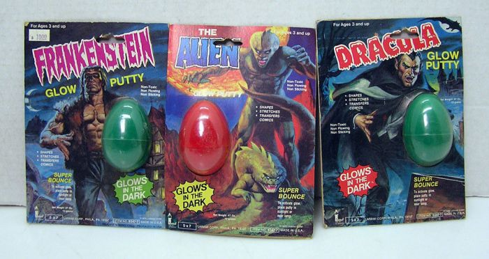 frankenstein the alien dracula glow putty laramiJPG