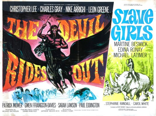the devil rides out + slave girls british quad poster
