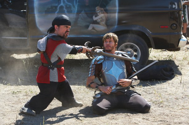 """DF-0374 (l to r) Peter Dinklage stars as """"Hung"""" and Ryan Kwanten as """"Joe"""" in Entertainment One's upcoming release, KNIGHTS OF BADASSDOM."""