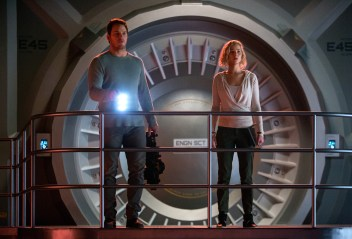 Red alert on the Avalon for Jim (CHRIS PRATT) and Aurora (JENNIFER LAWRENCE) in Columbia Pictures' PASSENGERS.