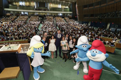 NEW YORK, NY - MARCH 18: (L-R) Caryl M. Stern, Mandy Patinkin, Demi Lovato, Joe Manganiello, Cristina Gallach, Karan Jerath, Sarina Divan, and Noor Samee pose onstage at the United Nations Headquarters celebrating International Day of Happiness in conjunction with SMURFS: THE LOST VILLAGE on March 18, 2017 in New York City. (Photo by Cindy Ord/Getty Images for Sony Pictures)