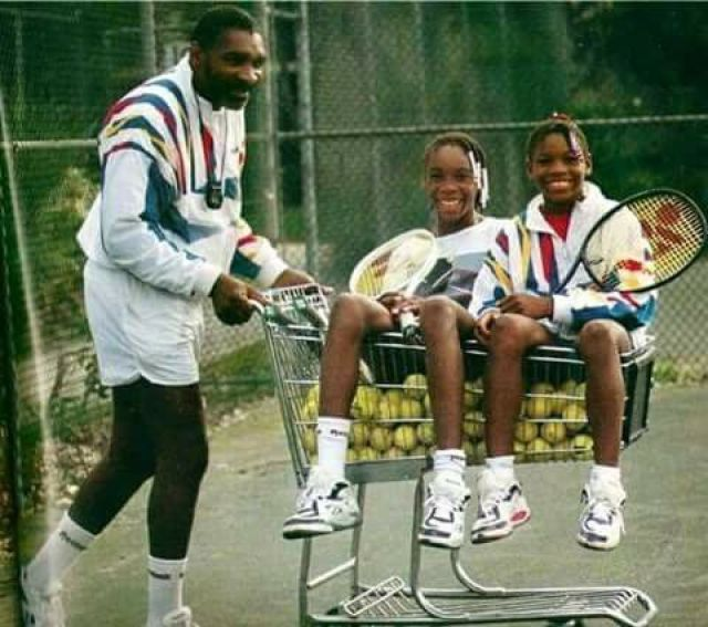 King Richard Williams with his daughters, Venus and Serena (L to R)