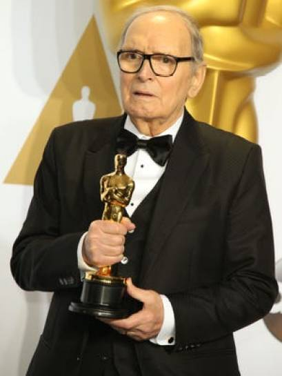 Ennio Morricone with his Oscar for Best Original Score on Quentin Tarantino's 'The Hateful Eight'