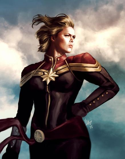 Ronda Rousey suited up as Captain Marvel