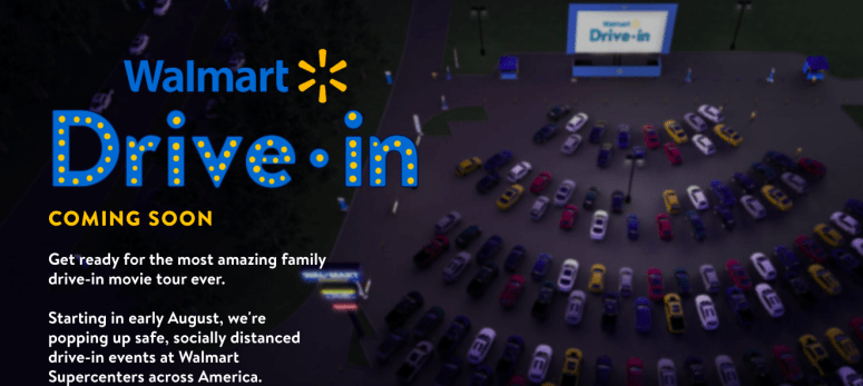 Walmart is partnering with Tribeca to transform their parking lots into drive-in theaters.