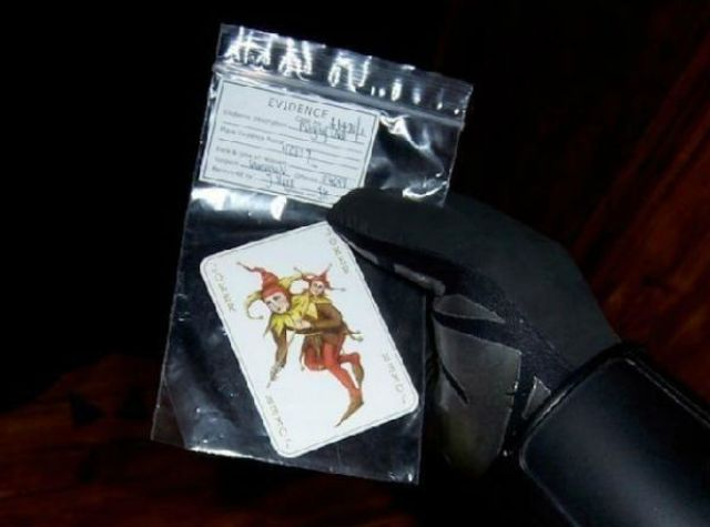 The calling card of the Joker was a great easter egg in The Dark Knight trilogy.