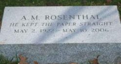 Grave marker for A. M. Rosenthal, Westchester County, New York, USA