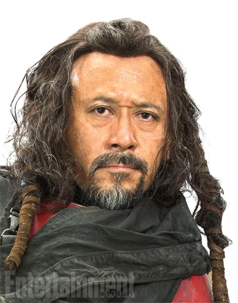 "Heavily armored, Baze prefers a blaster to hokey religions and ancient weapons, but he is devoted to protecting his friend Chirrut at all costs. ""He understands Chirrut's spiritual centeredness, but he doesn't necessarily support it,"" Kennedy says. Baze goes along with this Force business because ""it's what his friend deeply believes,"" she adds. Think of them as a little like the galactic version of Don Quixote and Sancho Panza."