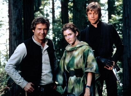 Harrison Ford, Carrie Fisher & Mark Hamill in Return of the Jedi
