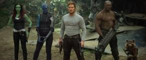 Zoe Saldana, Karen Gillan, Chris Pratt & Dave Bautista in Guardians of the Galaxy Vol. 2