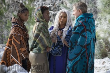 Letitia Wright, Lupita Nyong'o, Angela Bassett & Martin Freeman in Black Panther