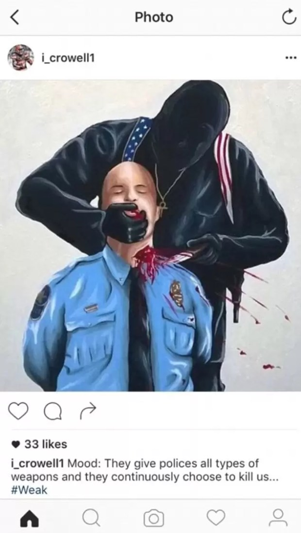 isaiah crowell policeman image throat getting cut 2016 images