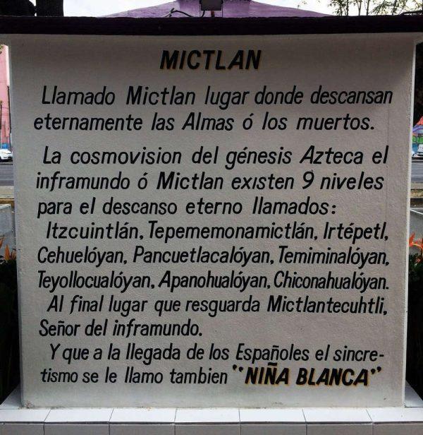 Der Verweis auf Mitclan direkt neben einem Altar der Santa Muerte in Mexiko Stadt