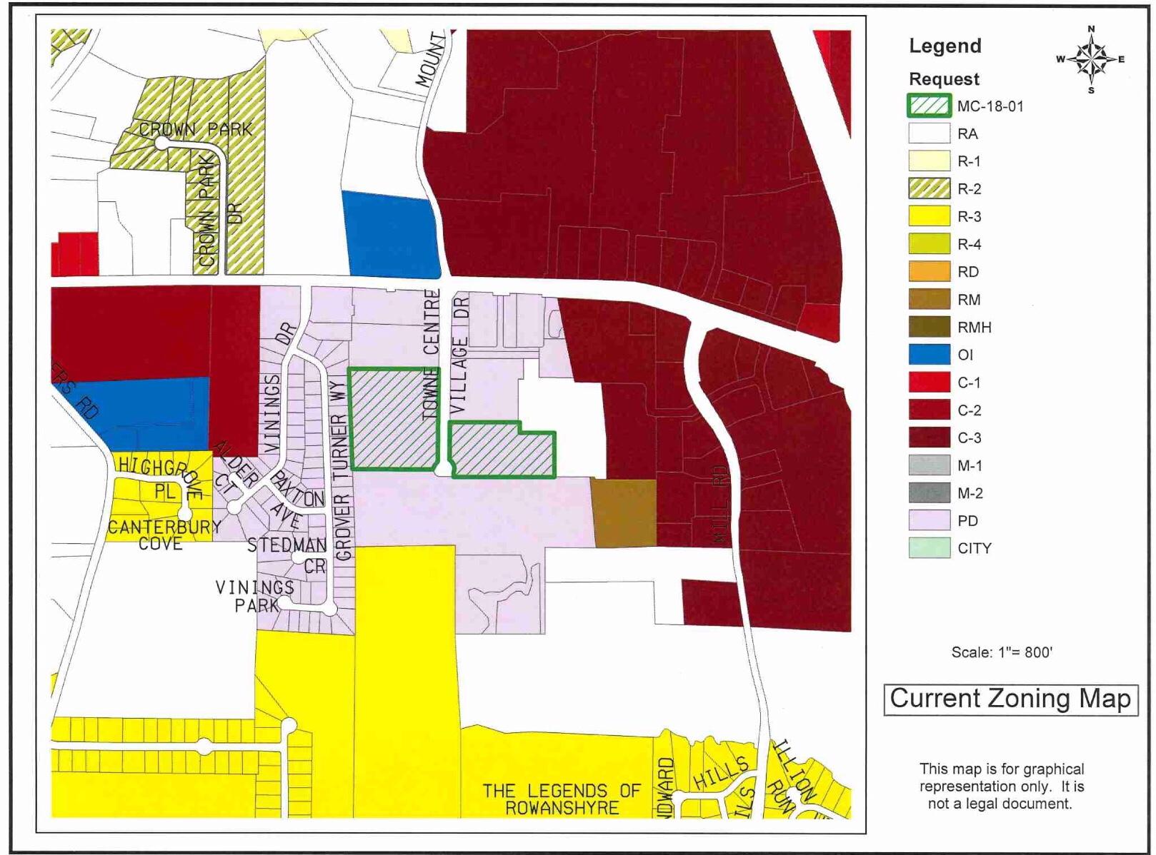 Map of Towne Center Village Drive apartment rezoning