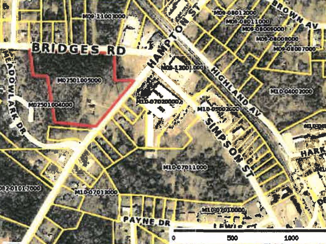 Map showing location of Hampton Street Townhomes