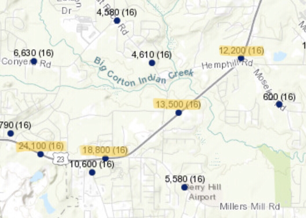 Map of SR 138 traffic counts near Woodland