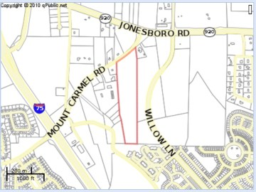Location of proposed apartments on Mt Carmel Road