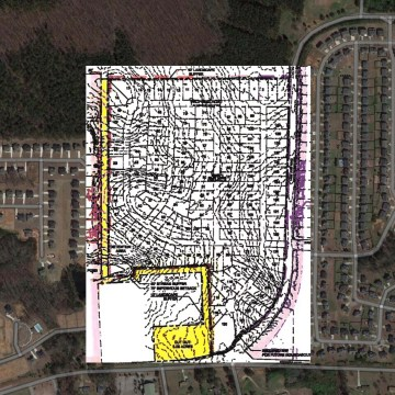 Concept site plan for Lake Dow Road at Rosser Road subdivision (staff graphic)