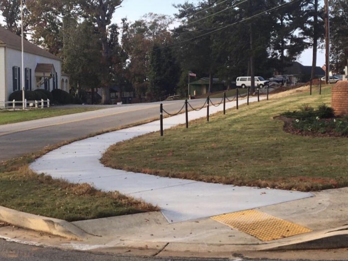 Photo of sidewalks along Veterans Drive in McDonough