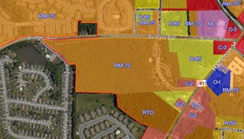 Photo of McDonough zoning map showing properties on Bridges Road (city photo)
