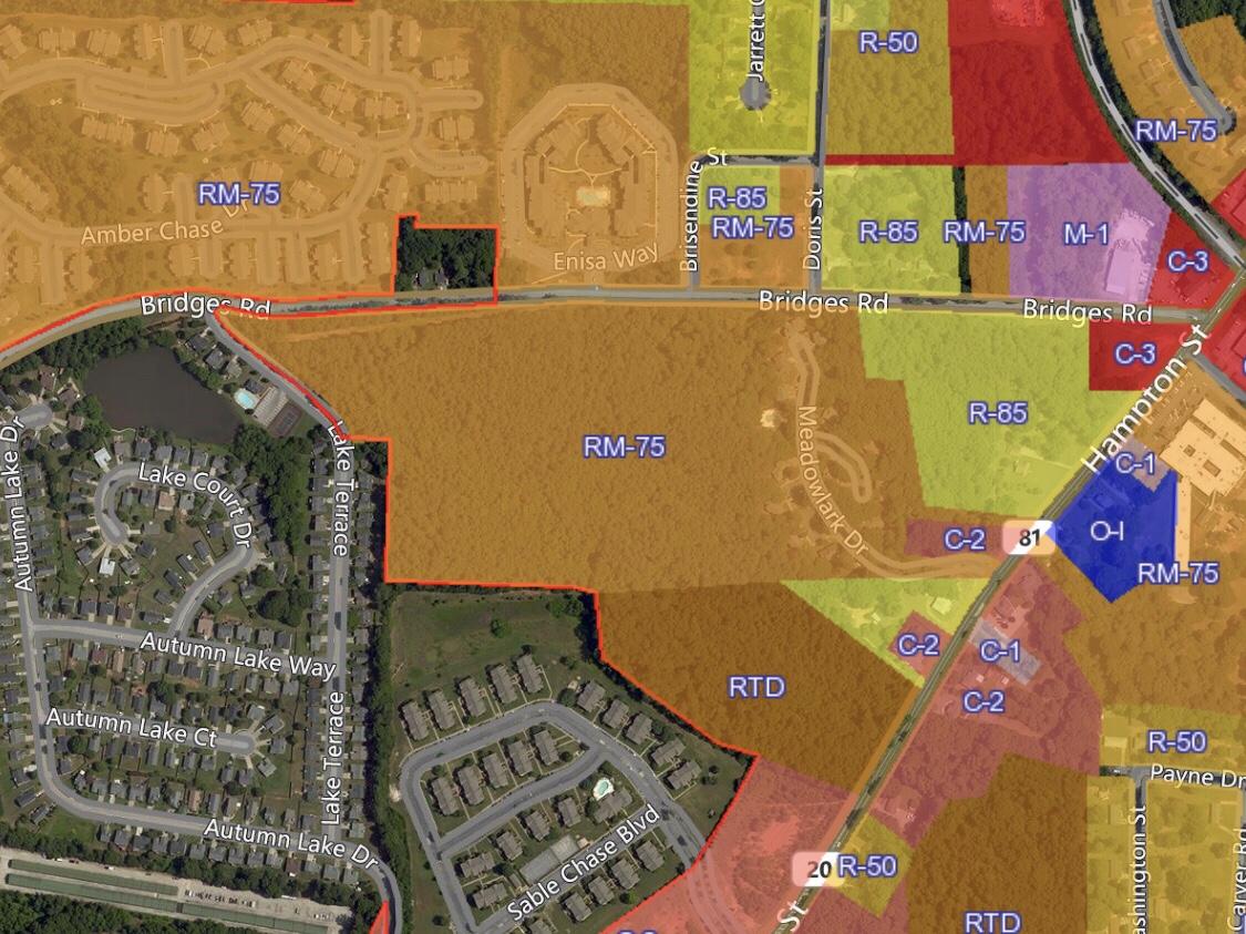 Map of Bridges Road zoning modification request