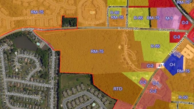 Photo of McDonough zoning map showing properties on Bridges Road (city photo)