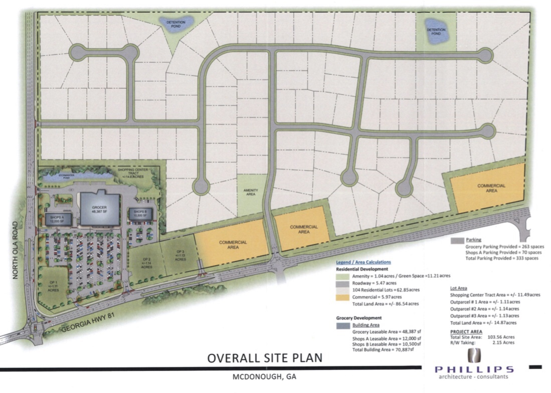 Concept site plan for North Ola Road mixed use rezoning request