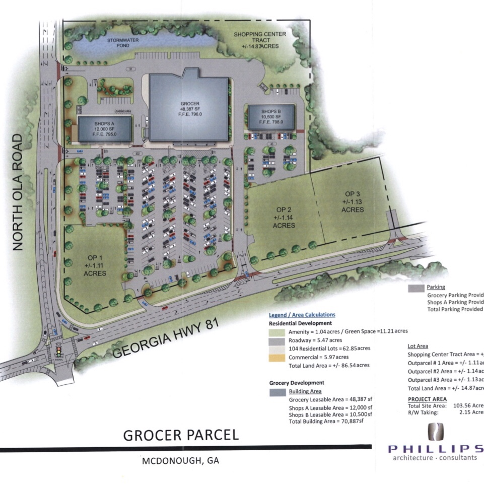 Concept site plan for North Ola Road grocery store