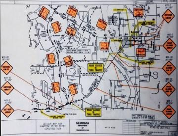 Detour map for Hampton Street closure